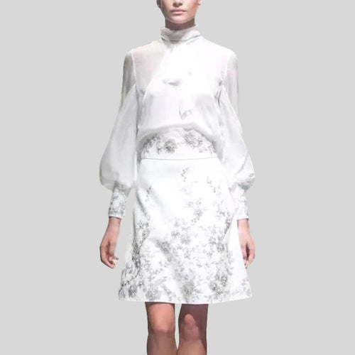 Runway Chiffon Stand Collar White Bow Shirt + Vintage Embroidery A Line Set