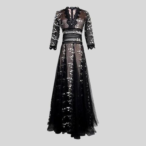 Vintage Black Lantern Sleeve Ruffles Cascading Hollow Out Long Dress