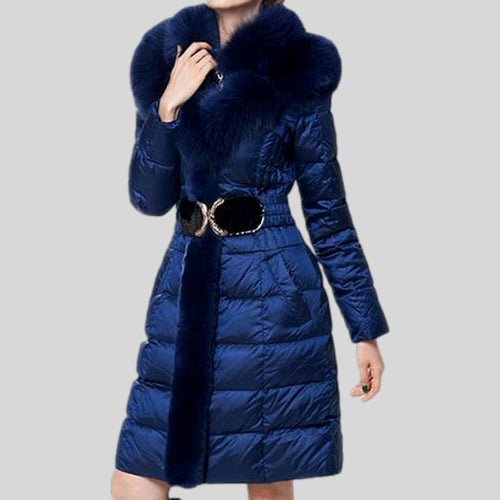 Fox Fur Collar Down Long Hooded Parka  Coat