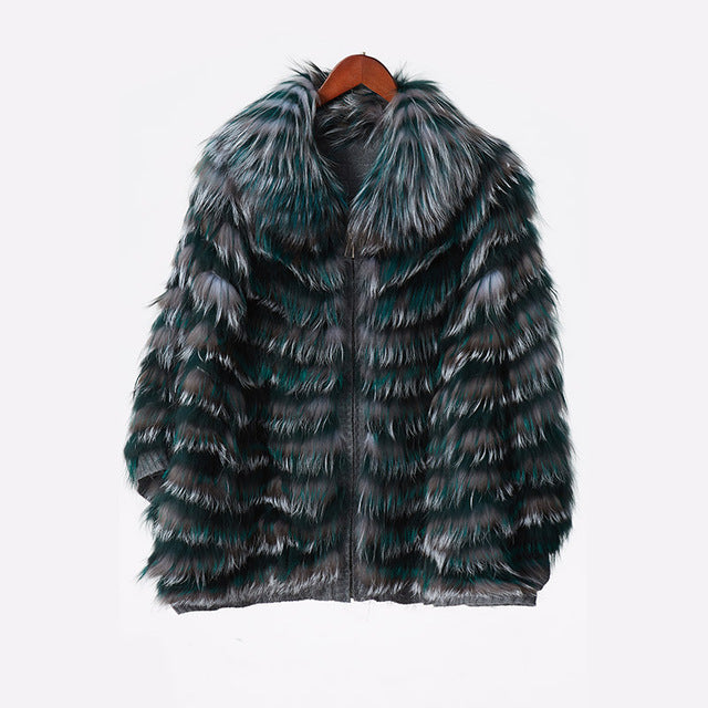 Luxury Elegant High Quality Warm Genuine Leather Fox Shawl Coat