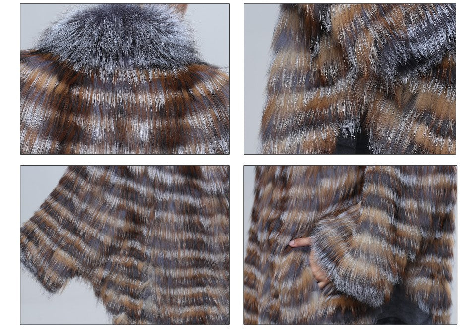 Bat Sleeved  Genuine Silver Fox Fur Coat