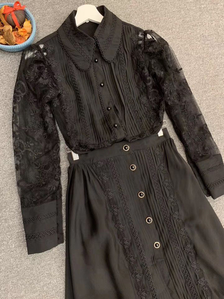 r High-End Embroidery Long Sleeve Blouse + Ruffles Midi Skirt Set