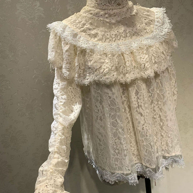 Two Piece Top and Skirts Long Sleeve Lace Blouse and Asymmetrical Skirt Set
