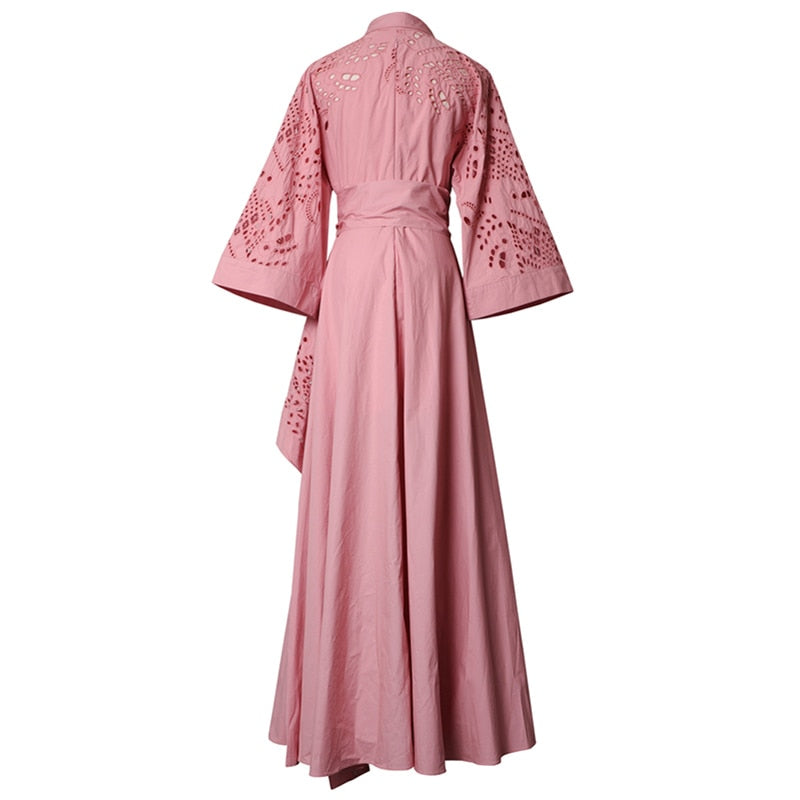 Flared Sleeves Flap Pockets Floor Length Dress