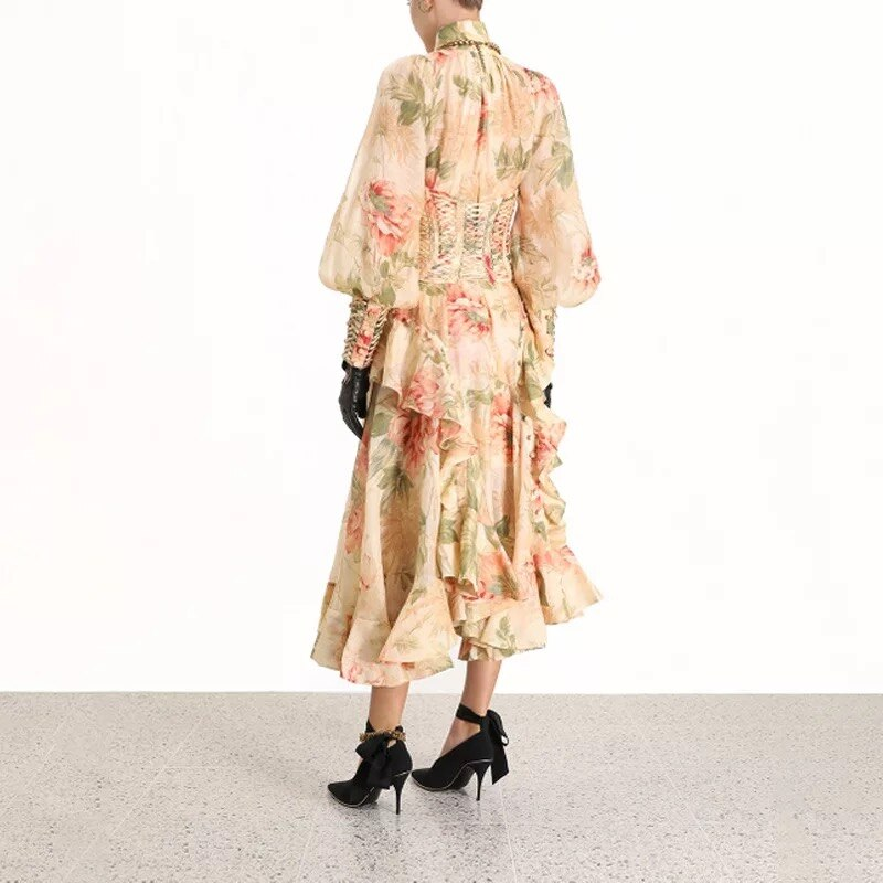 High Waist Lantern Sleeve Floral Printed Ruffles Asymmetrical Dress