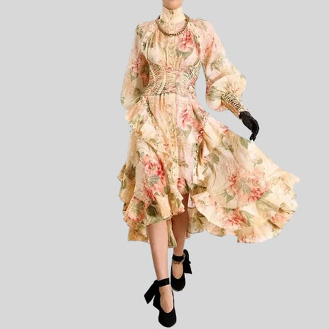 Spring Summer Bow Collar Floral Print Dress
