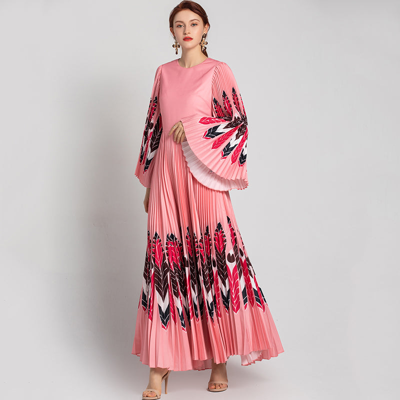 Elegant Pleated Vintage  Flare Full Sleeve 2020 Spring Runway  Maxi Dress
