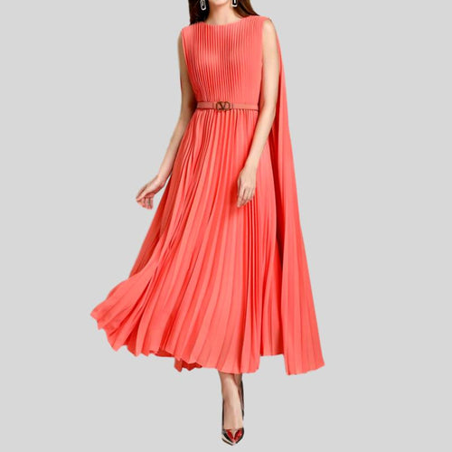 Pure Color Pleated Belt Sleeveless Temperament Slim Mid-Length Dress