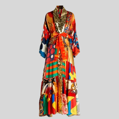 Vintage Print Turn-down Collar Sashes Long Sleeve Maxi Dress