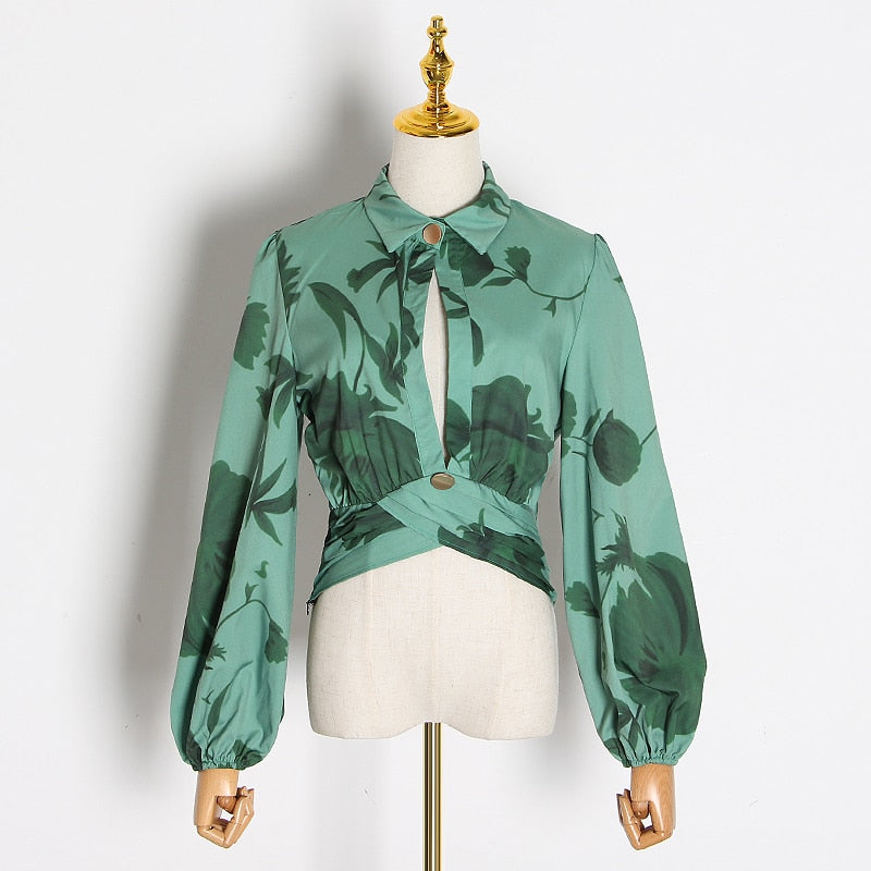 Casual Print Blouses Lapel Collar Lantern Long Sleeve Hollow Out Top