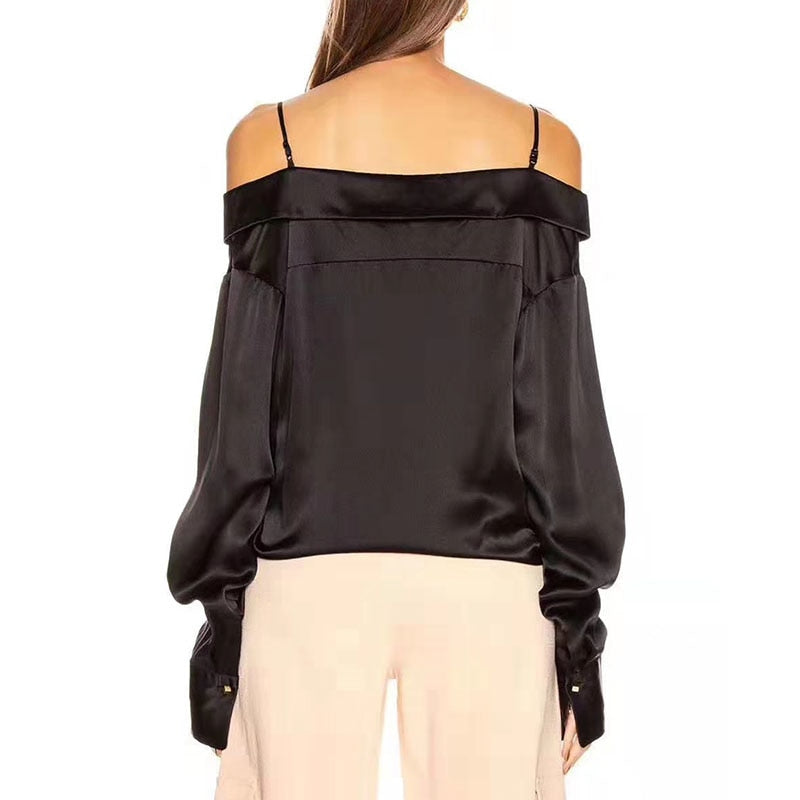 Casual Off Shoulder V Neck Lantern Long Sleeve Loose Lace Up Patchwork Top
