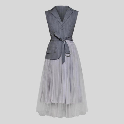 Stand Collar Lantern Sleeve High Waist Bow knot A Line Dress