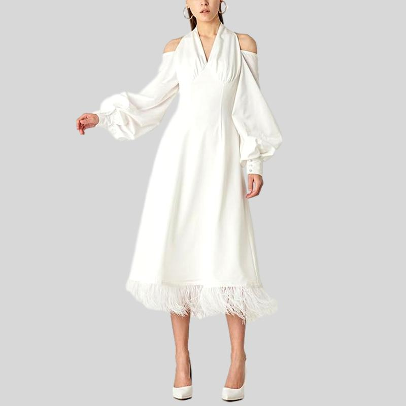 White Dress V-neck Full Sleeves With Button Mid-calf Backless Dress
