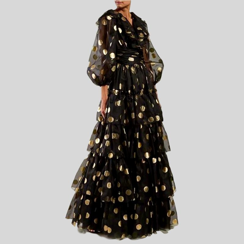 3/4 Sleeve Golden Dots Organza Ruffle Full-length Long Dress