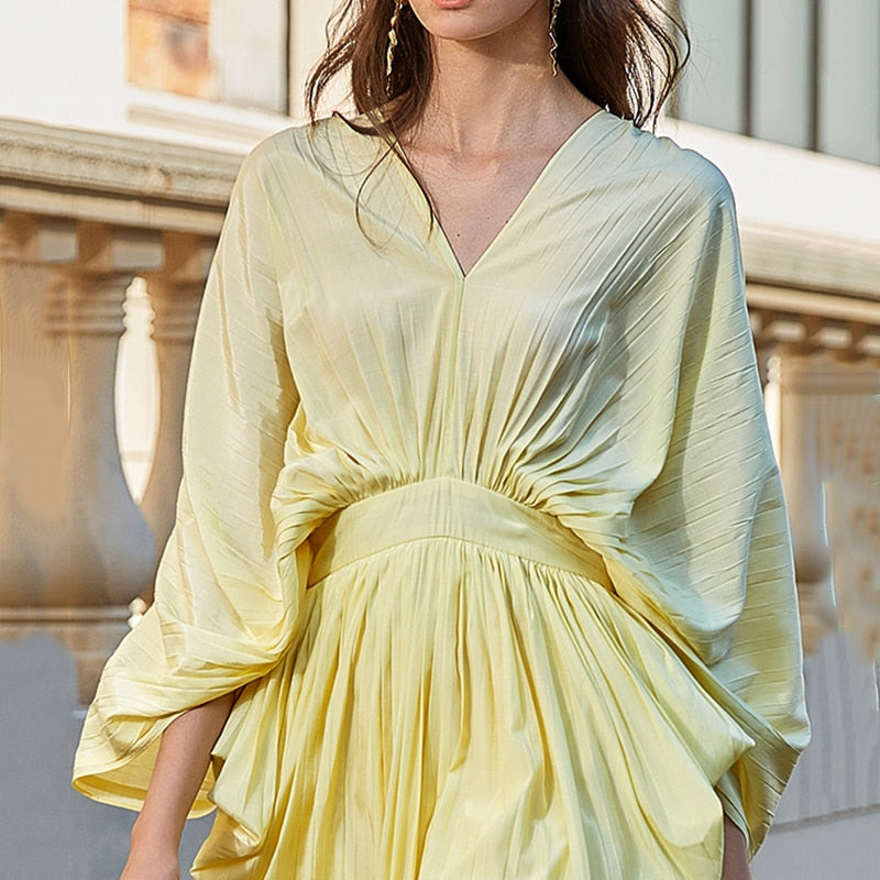 V Neck Lantern Long Sleeve High Waist Irregular Hem Ruched Dress