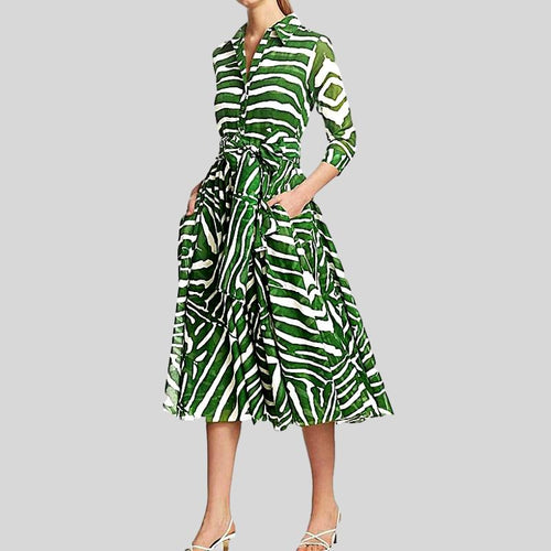 Long  Vintage Elegant Chic Zebra Print Shirt Dress