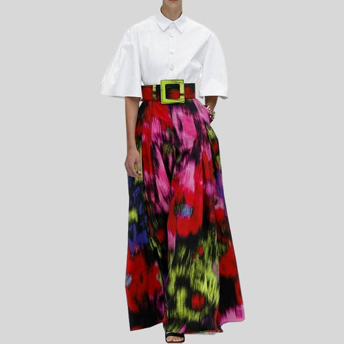 Two Pieces White Shirt Top + Colorful Print Wide Leg Pants Set