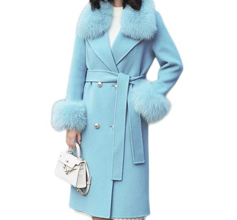 Genuine Fox Fur Collar  and Cuffs Wool Jacket