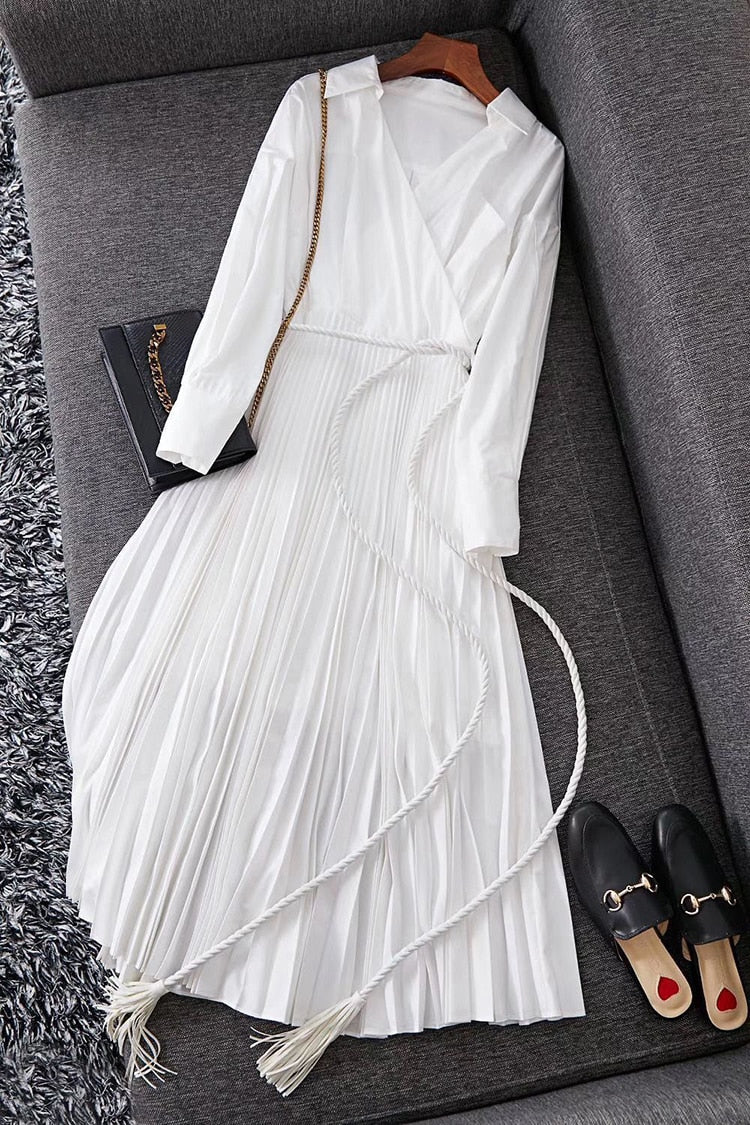 Cotton Pleated Long Sleeve Solid Color Dress