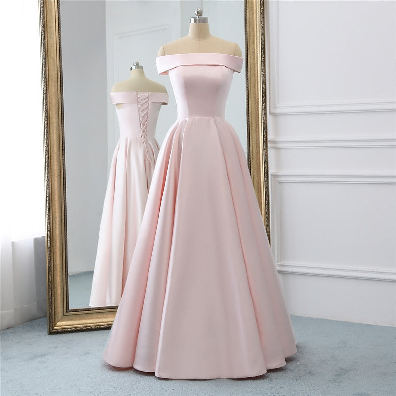 A-line Long Off The Shoulder Formal  Lace Up Dress