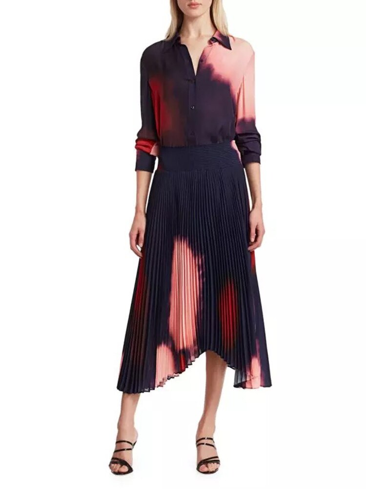 Runway  Casual Printed Blouse and Vintage Pleated Midi Skirts 2 Two Pieces Set
