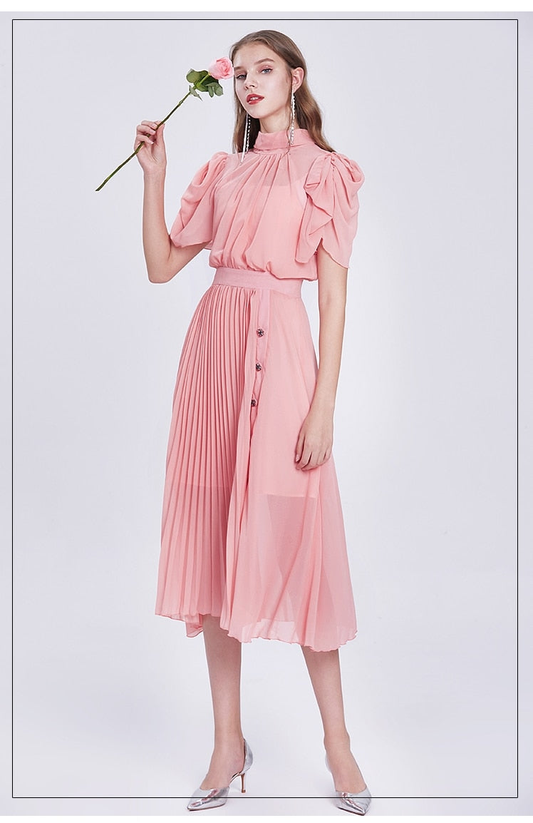 Elegant Chiffon Vintage Designer Pleated Dress