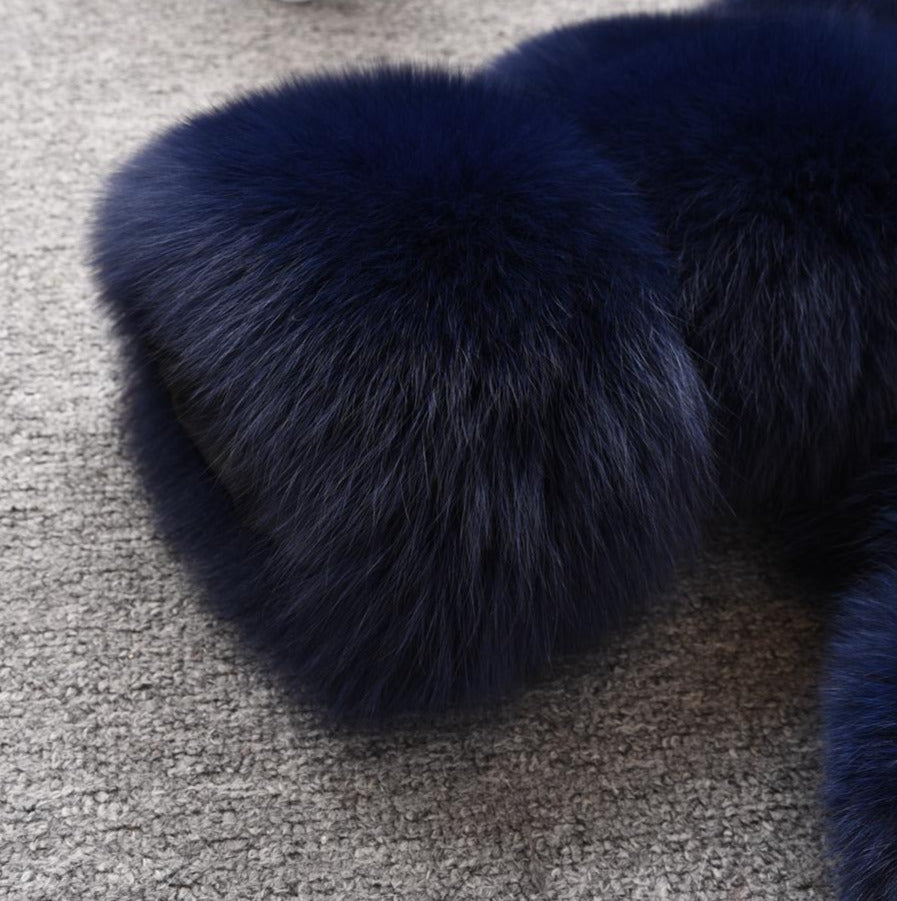 Chunky  Genuine Natural Fur With Pocket Luxury Coat