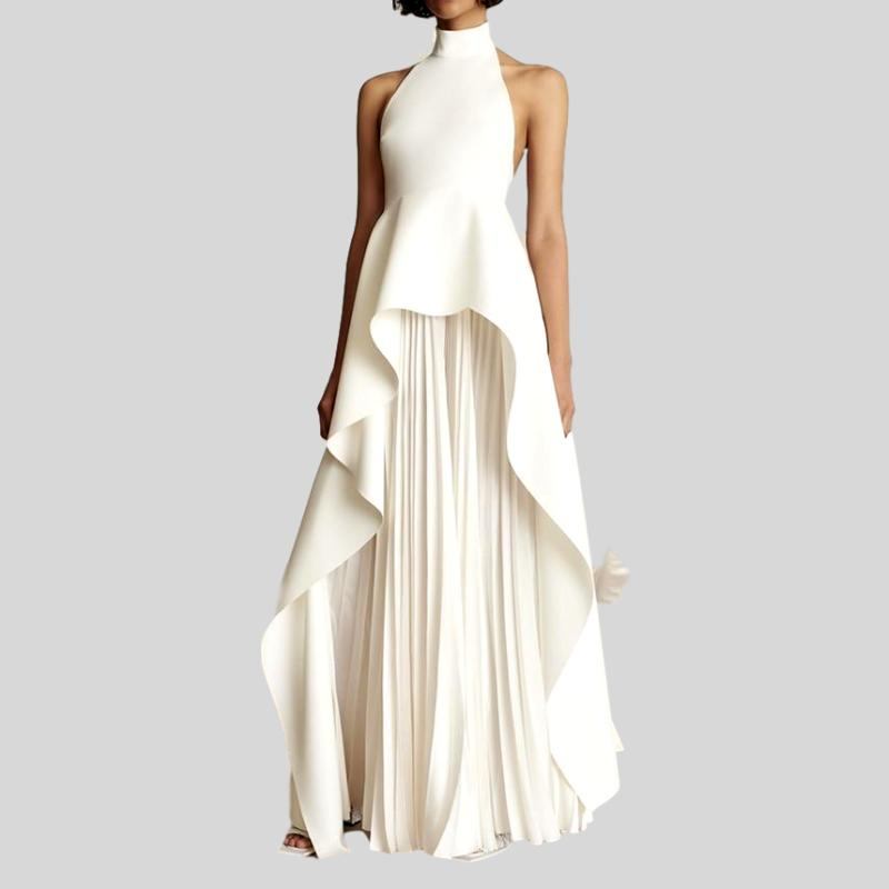 Backless Bandage Hater Ruffles Maxi  Dress