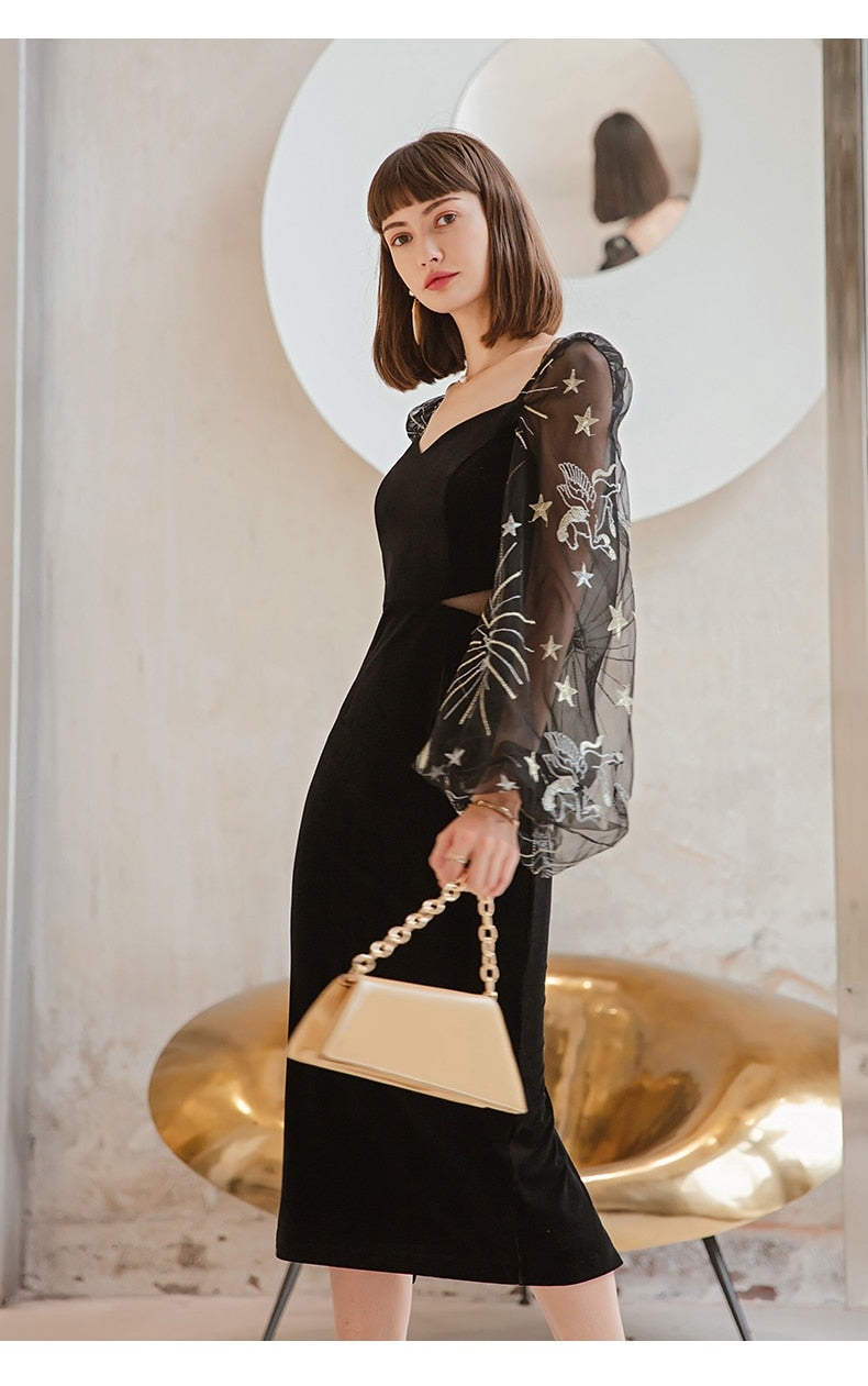 Velvet Elegant V-neck Lantern Sleeve Empire Slim Straight Dress