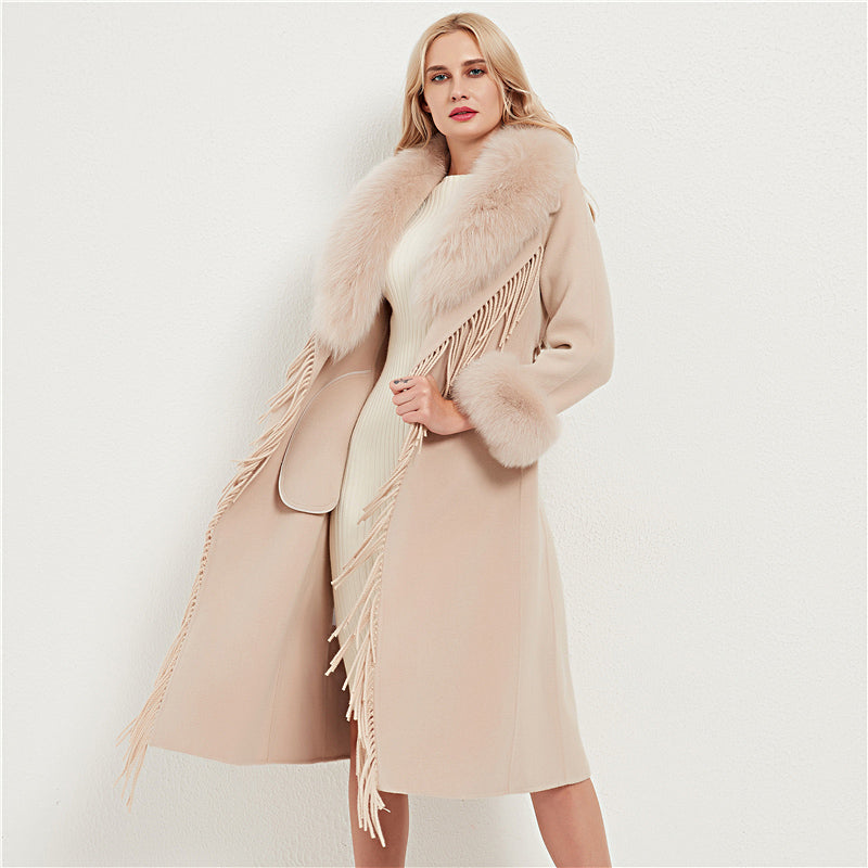 Wool Blends Fox Fur Collar Long Coat