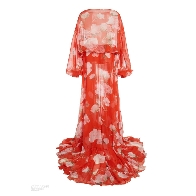 Maxi Plus Size Red Flower Print Chiffon Dress