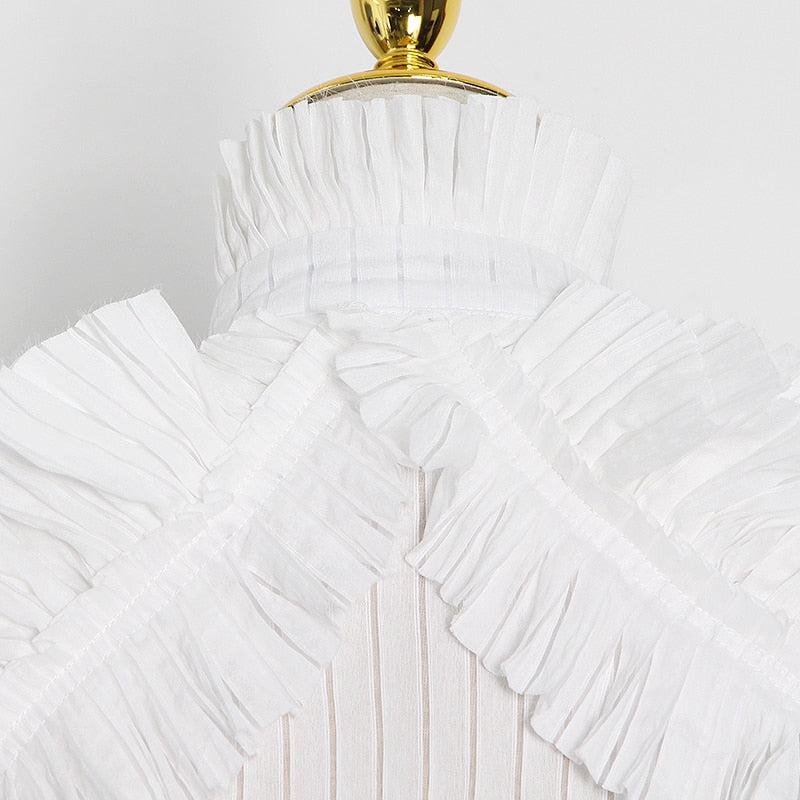 Striped Patchwork Ruffle Stand Collar Lantern Sleeve Top
