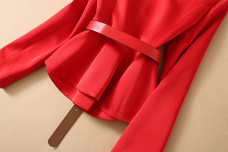 Red V-Neck Single-Breasted Jacket Elegant Casual Mesh Long Half Skirt  Set