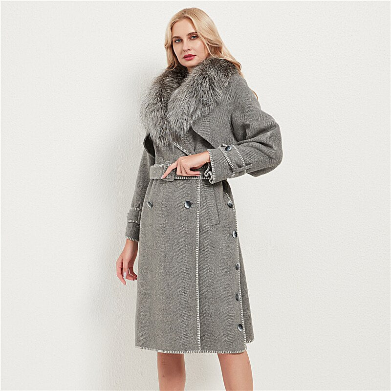 Genuine Fox Fur Wool Blends Fox Fur Collar Jacket
