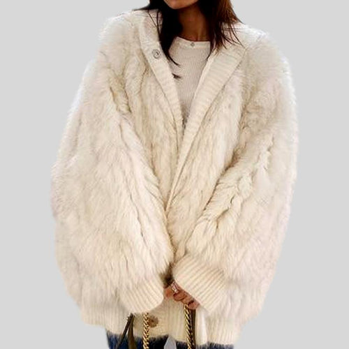 Knitted Hood  Genuine Fox Fur Stripe Sewed Coat