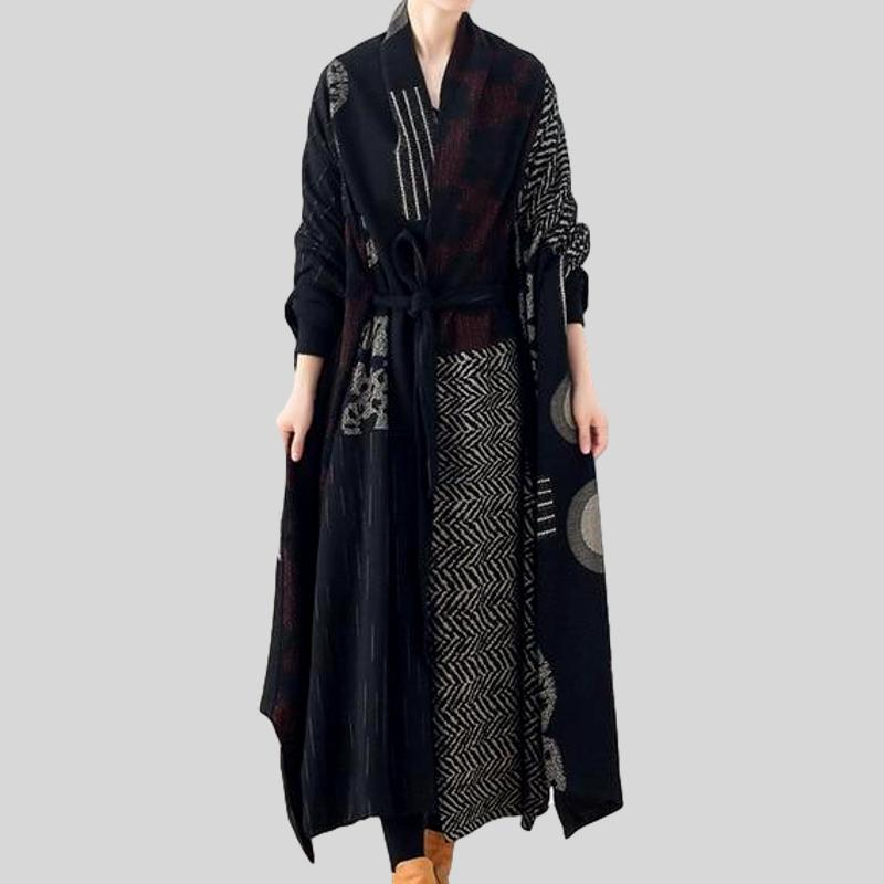 Vintage Patchwork  Plus Size Trench Coat