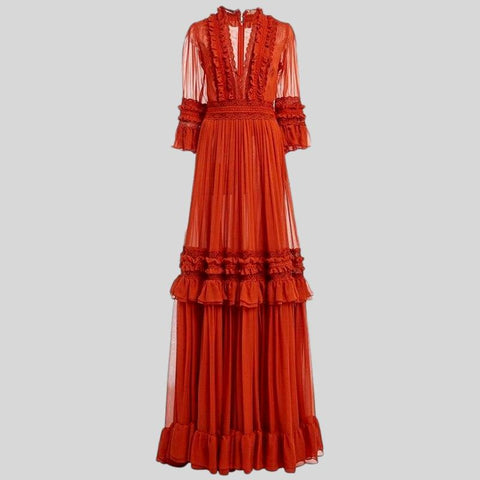 Lace  Long Lantern Sleeve Ruffles Patchwork Pleated Belt  Dress