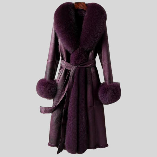 Genuine Rabbit Fur Mid-Length Leather Fox Fur Collar Cuffs Coat