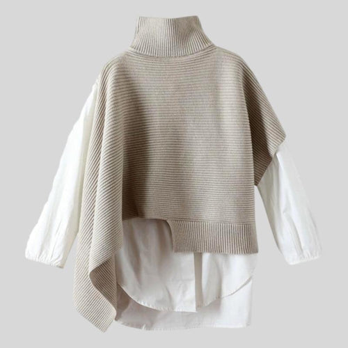 Loose Sweater Turtleneck Long Sleeve Patchwork Two Pieces  Top