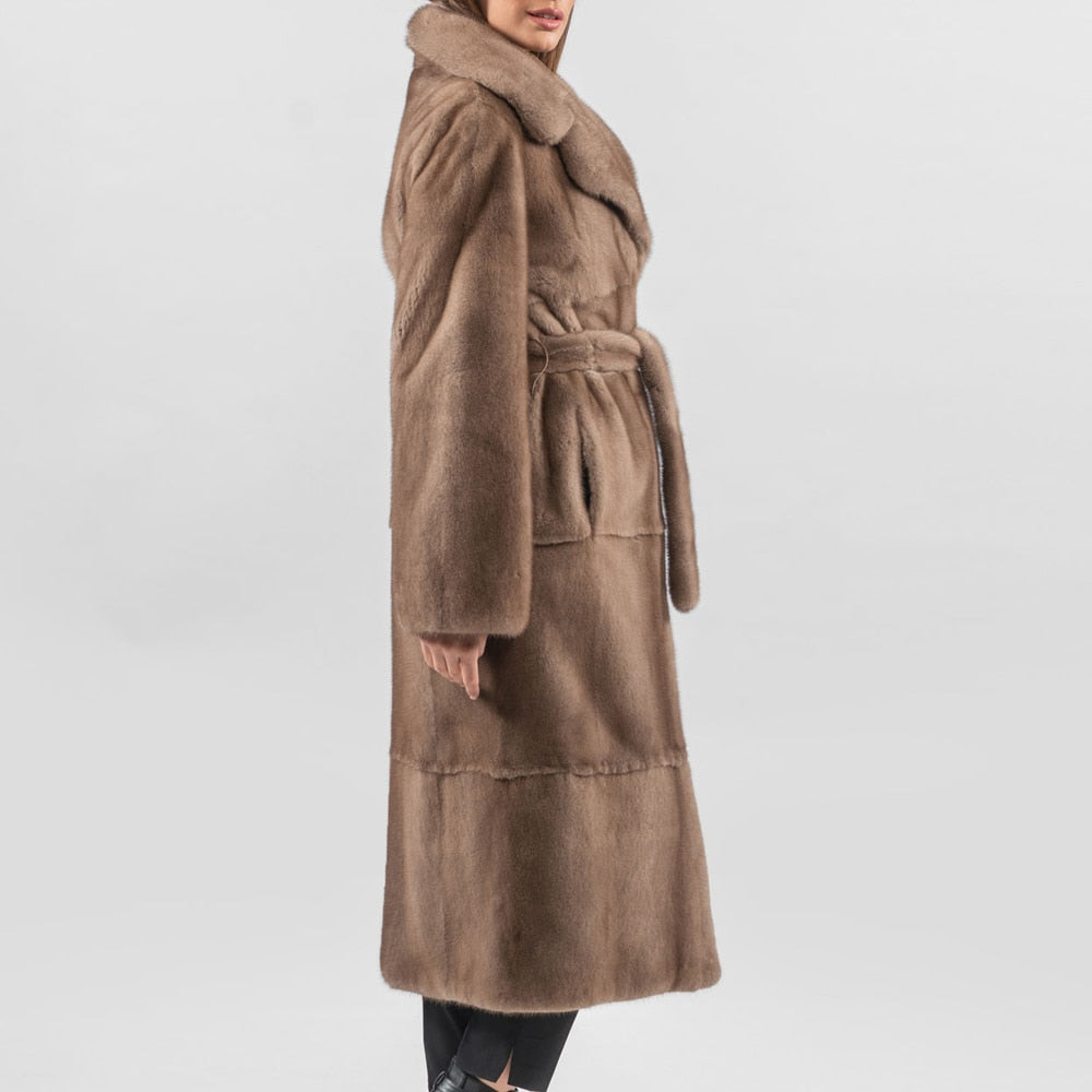 Long  Real Mink Fur Lapel Collar Fur Belt Coat