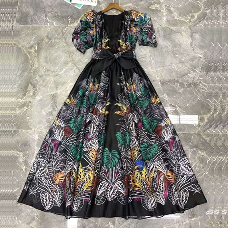 Short Sleeve V-Neck Flower Print Sashes Long Dress