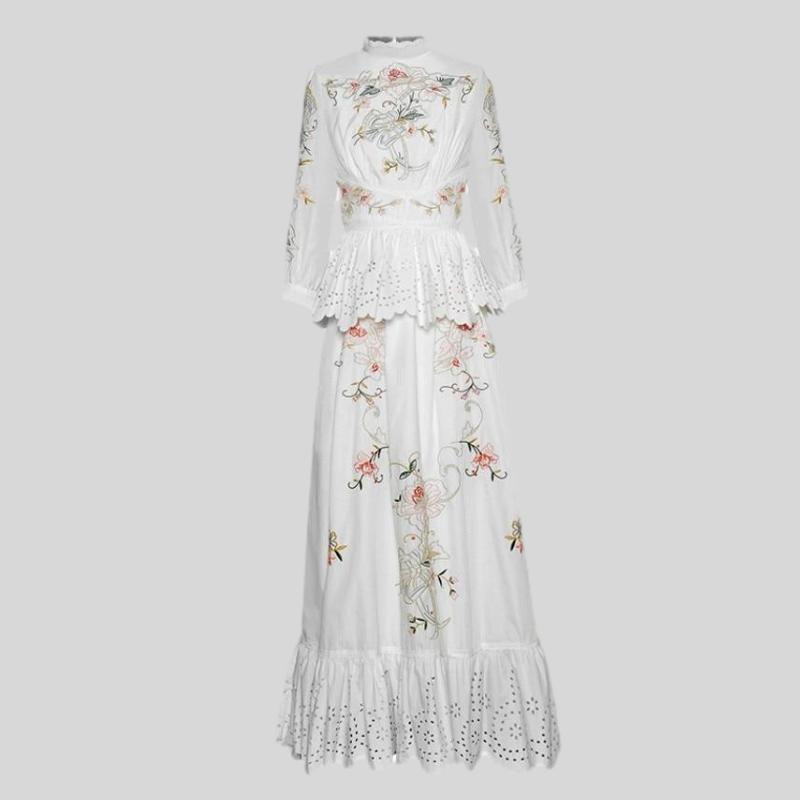 Stand collar Flowers Embroidery Hollow out Ruffles Maxi Dress