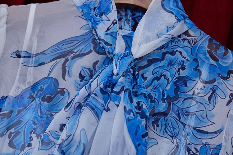 Runway Lantern Sleeve Blue White Print Vintage Dress