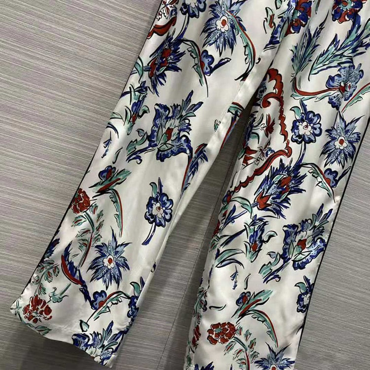 Silk Elegant Office Ladies Blazer+Full-Lenght Pants Red Blue Flower Print Set