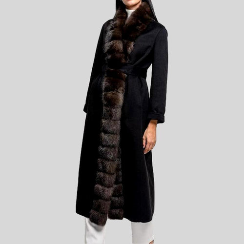 Sable Placket Fox Fur Collar  Woolen Belt Coat