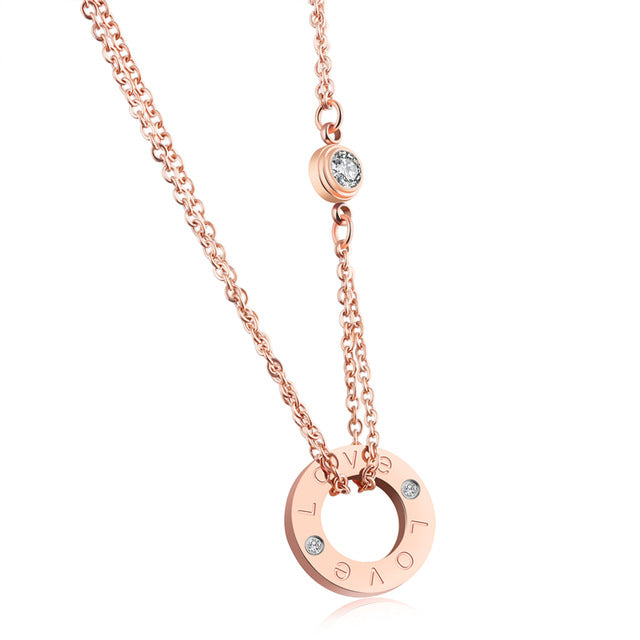 NEWBUY 2017 Trendy Round Circle Pendant Necklace For Women Rose Gold-color Link Chain Female Choker Necklace Jewelry Gift