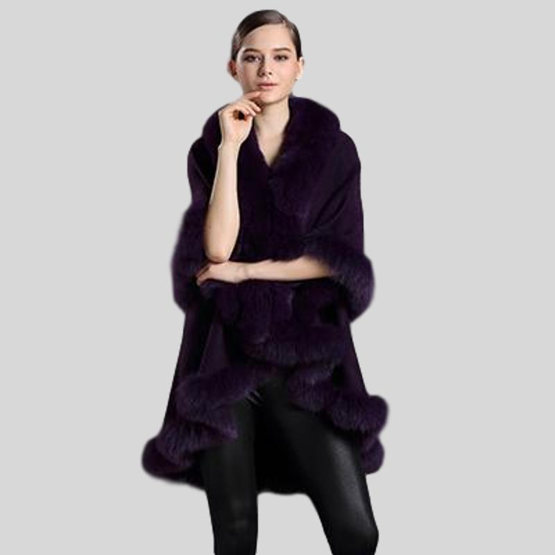 Genuine Fox Fur Collar Cashmere Shawl - Knot Bene