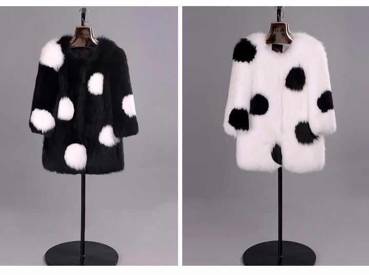 Luxury Genuine Fox Fur Black & White Coat - Knot Bene