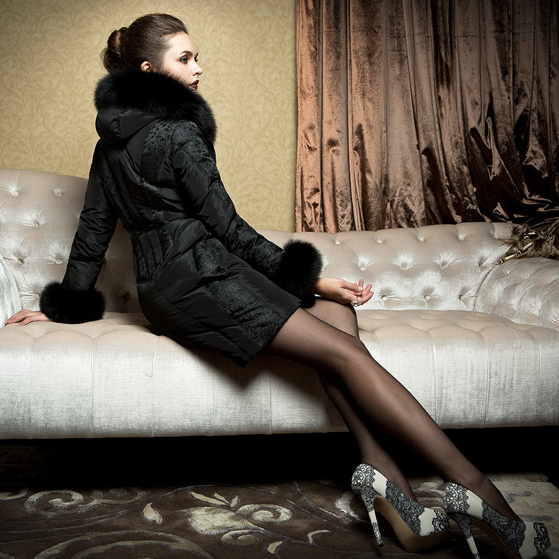 Elegant Genuine Fur Slim Duck Down Coat - Knot Bene