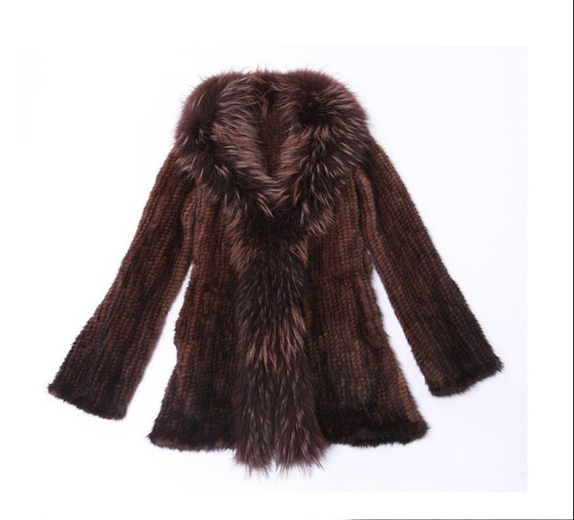 Genuine Knitted Mink Fur Coat Raccoon Fur Collar - Knot Bene